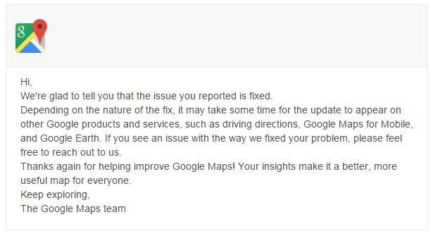 Google Maps Feedback Reply