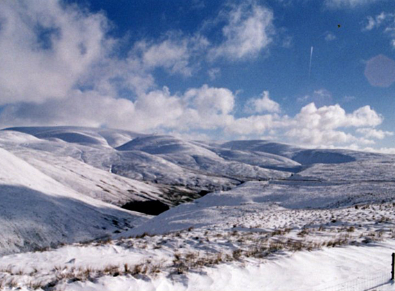 View of the Moffat Hills in winter