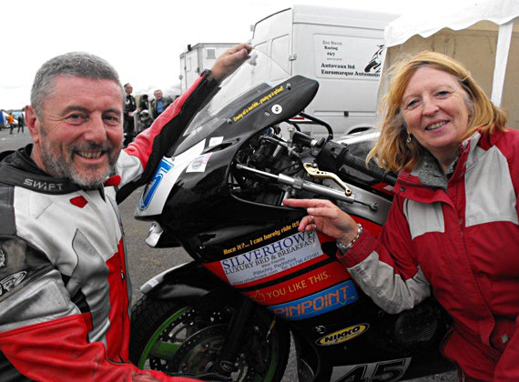 Trudi & Silverhowe cheering on Gerry and his Kawasaki ZX6R